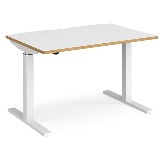 View Elev 1200mm electric height adjustable desk in white and oak