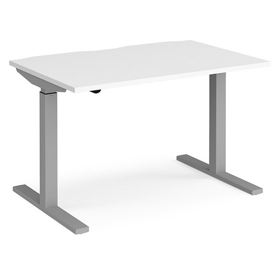 View Elev 1200mm electric height adjustable desk in white and silver