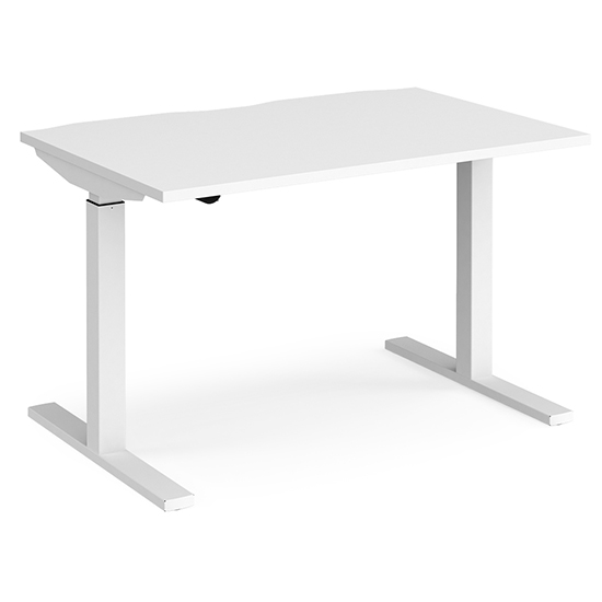 View Elev 1200mm electric height adjustable desk in white