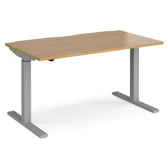 Elev 1400mm Electric Height Adjustable Desk In Oak And Silver