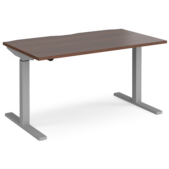 Elev 1400mm Electric Height Adjustable Desk In Walnut And Silver