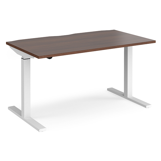 View Elev 1400mm electric height adjustable desk in walnut and white