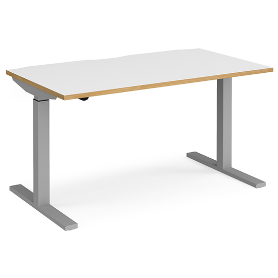 View Elev 1400mm electric height adjustable desk in white oak silver