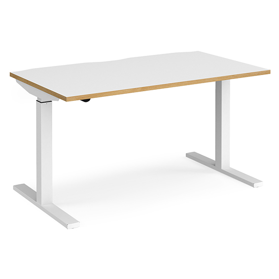 View Elev 1400mm electric height adjustable desk in white and oak