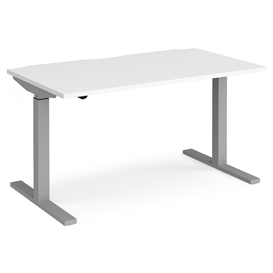 View Elev 1400mm electric height adjustable desk in white and silver