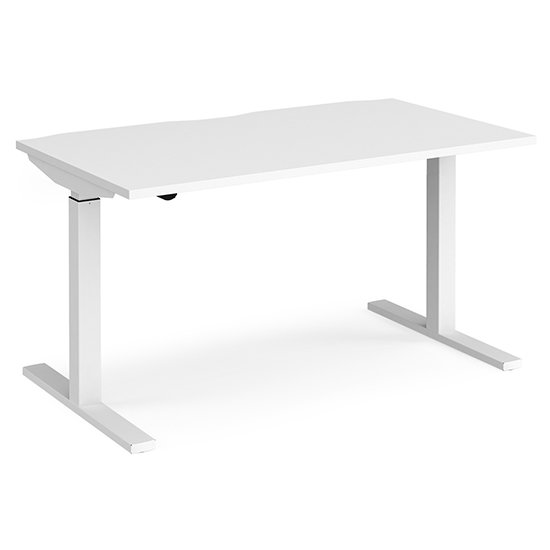 View Elev 1400mm electric height adjustable desk in white
