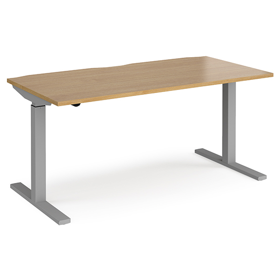 Elev 1600mm Electric Height Adjustable Desk In Oak And Silver