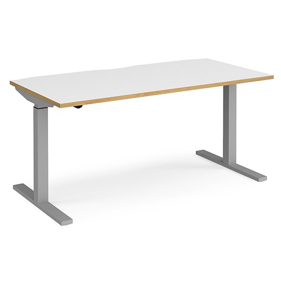 View Elev 1600mm electric height adjustable desk in white oak silver