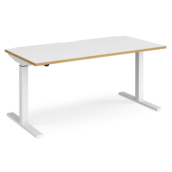 View Elev 1600mm electric height adjustable desk in white and oak