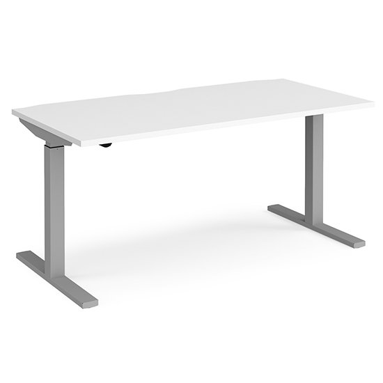 View Elev 1600mm electric height adjustable desk in white and silver