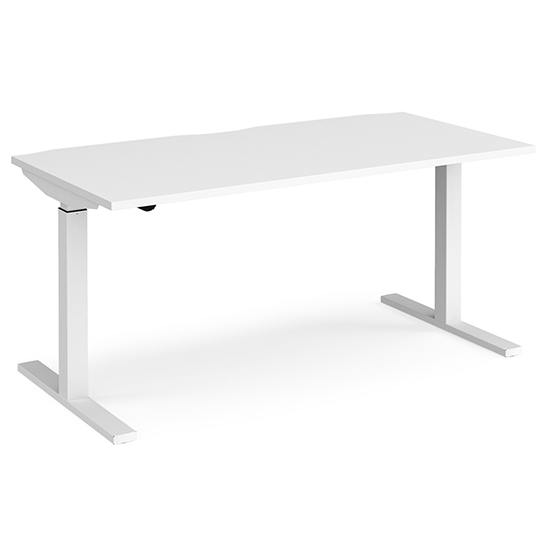 View Elev 1600mm electric height adjustable desk in white