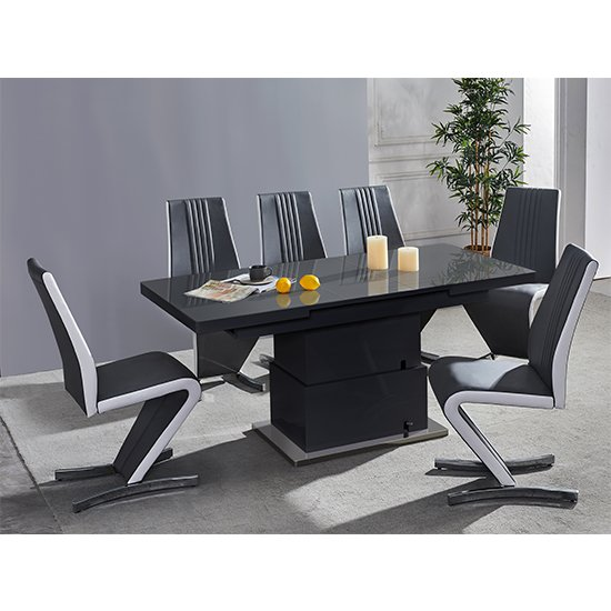 Elgin Convertible Black Gloss Dining Table 6 Black White Chairs