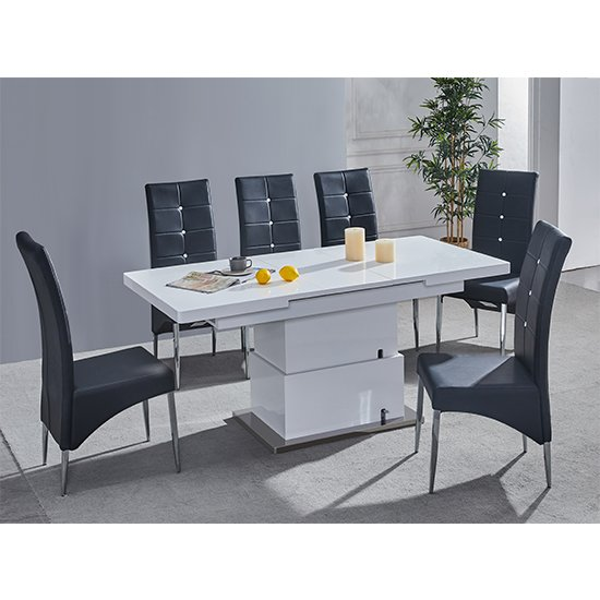 Elgin Convertible White Gloss Dining Table With 6 Black Chairs