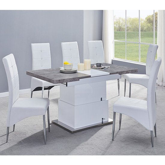 View Elgin extending concrete white dining table 6 white vesta chairs