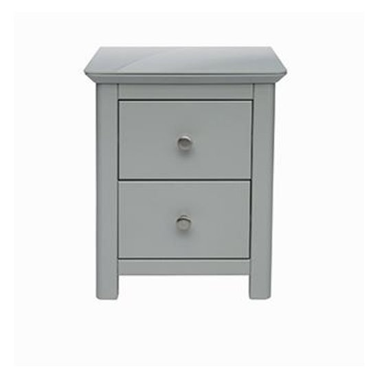 Elgin Glass Top Bedside Cabinet In Grey With 2 Drawers