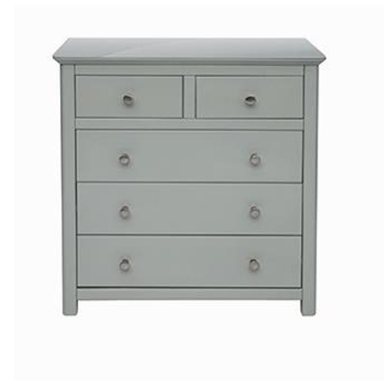 Elgin Glass Top Chest Of Drawers In Grey With 5 Drawers