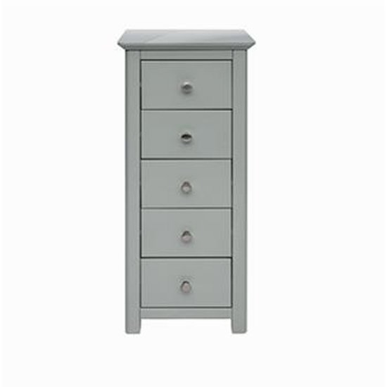 Elgin Glass Top Narrow Chest Of Drawers In Grey With 5 Drawers_1