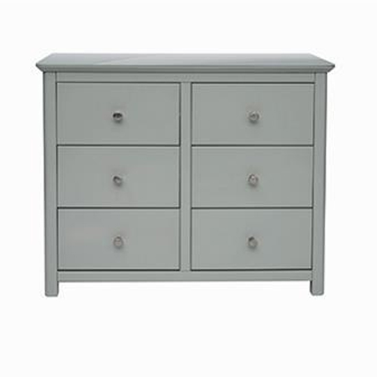 Product photograph showing Elgin Glass Top Wide Chest Of Drawers In Grey With 6 Drawers