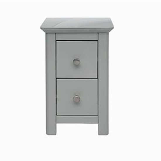 Elgin Petite Glass Top Bedside Cabinet In Grey With 2 Drawers