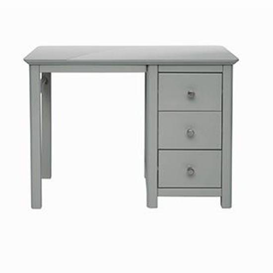 Elgin Single Pedestal Dressing Table In Grey With 3 Drawers