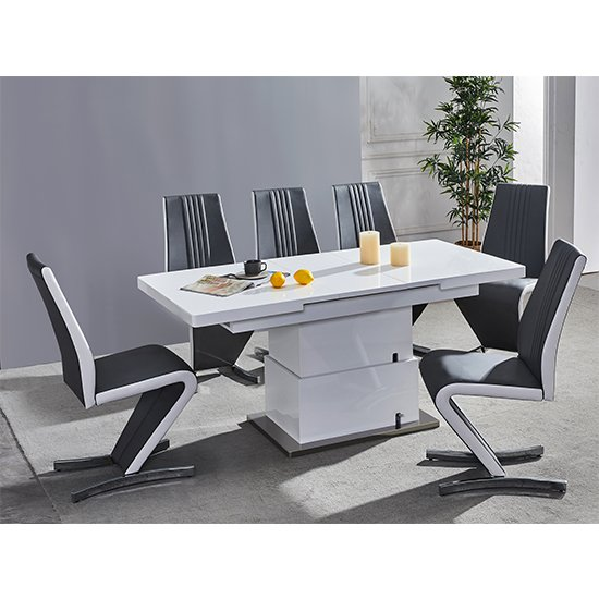 Elgin Convertible White Gloss Dining Table 6 Black White Chairs
