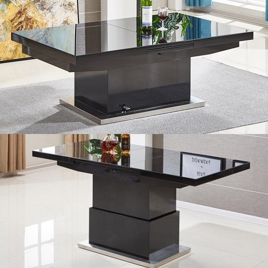 View Elgin extending glass coffee in to a dining table in black gloss