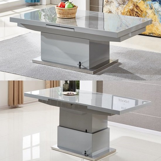 Elgin Extending Glass Coffee In To A Dining Table In Grey