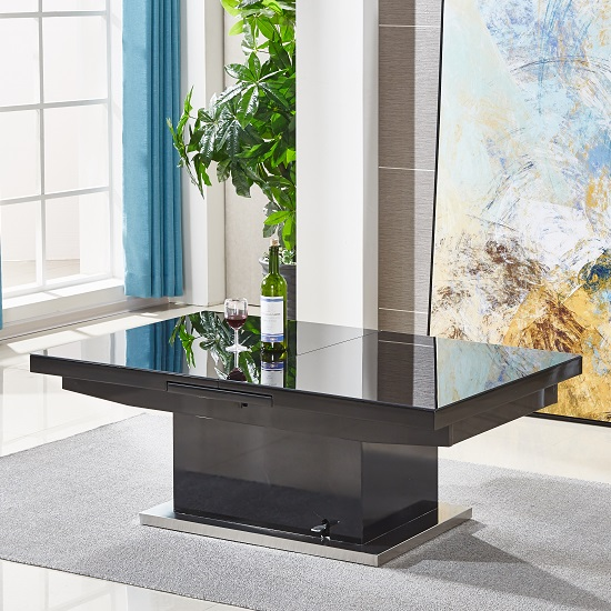 Elgin Extending Glass Coffee In To A Dining Table In Black Gloss_5