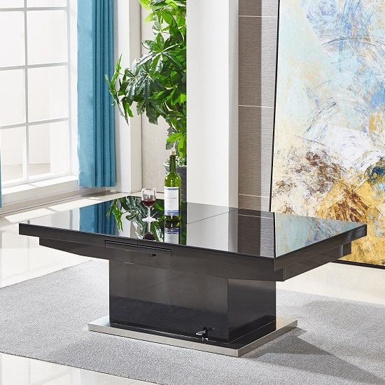 Extendable Glass Coffee Tables: Elgin Extending Glass Coffee In To A Dining Table In Black