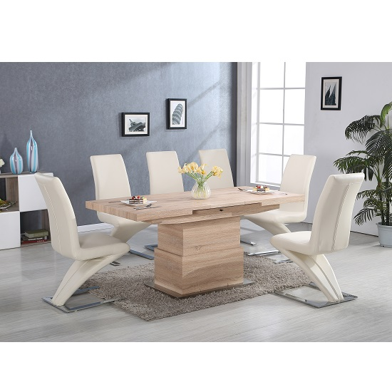 Elgin Convertible And Extendable Dining Table With 6 Demi