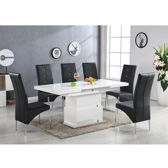 Elgin 6 Seater High Gloss Convertible Extendable Dining Set