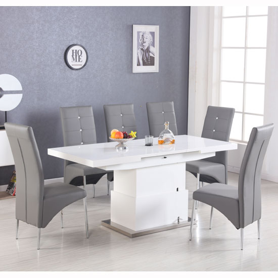 Elgin Convertible Extendable Dining Table With 6 Grey Chairs