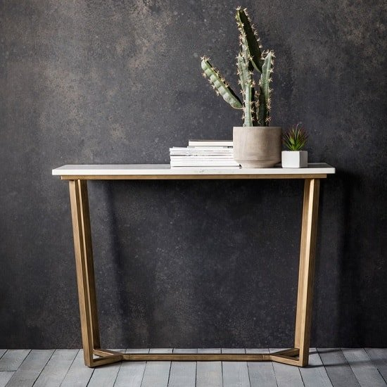 View Eliana marble console table in white with gold metal legs
