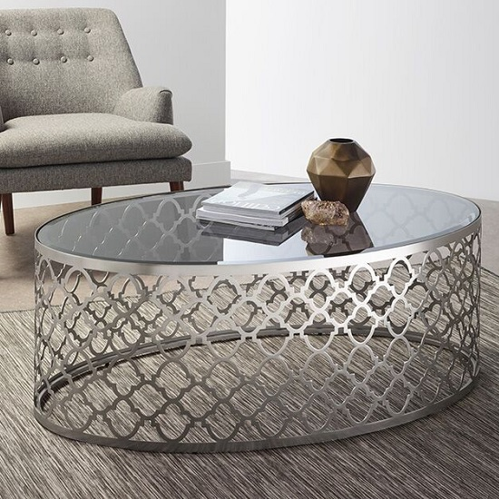 Elica Glass Coffee Table In Smoked With Satin Plated Base