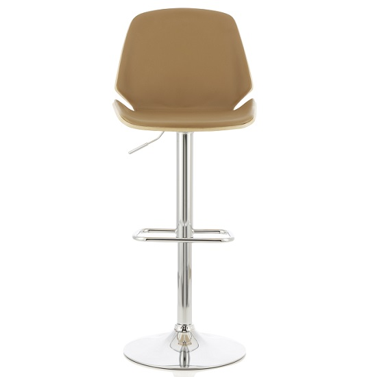 Elicia Bar Stool In Oak And Beige PU With Chrome Base