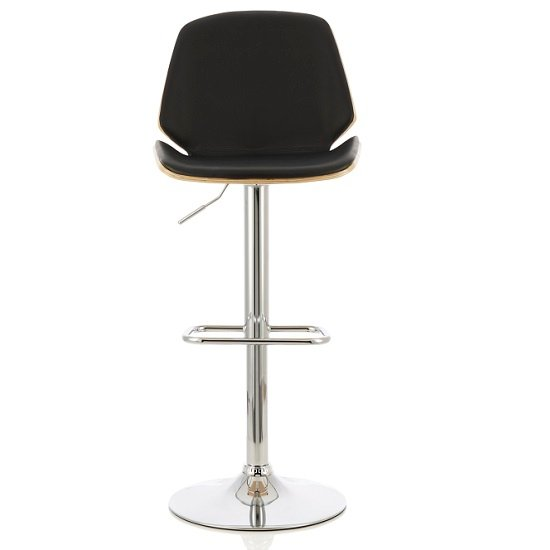 Elicia Bar Stool In Oak And Black PU With Chrome Base