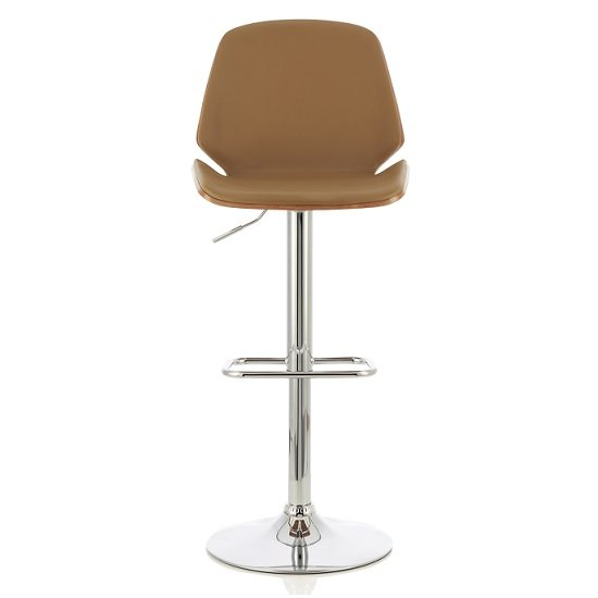 Elicia Bar Stool In Walnut And Beige PU With Chrome Base