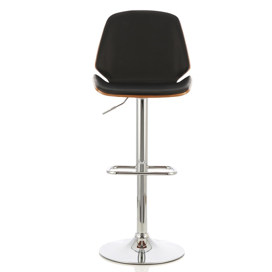 Elicia Bar Stool In Walnut And Black PU With Chrome Base