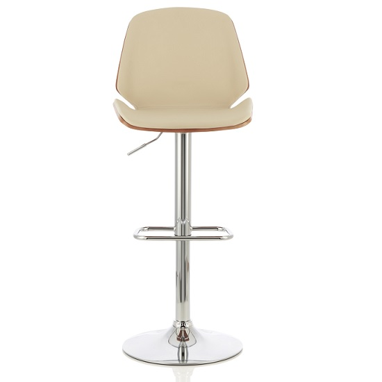 Elicia Bar Stool In Walnut And Cream PU With Chrome Base