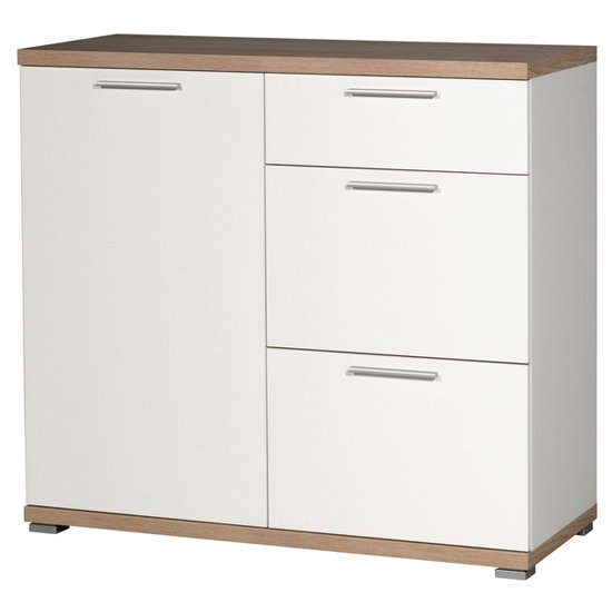 Elina Chest Of Drawers In White And Sonoma Oak