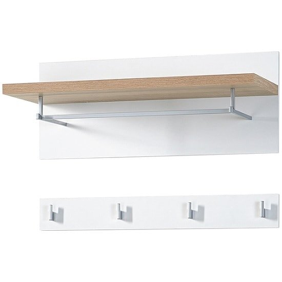 Elina Wall Mounted Coat Rack In White And Sonoma Oak