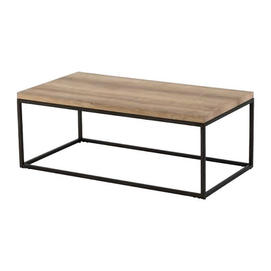 Elinor Wooden Coffee Table In Oak With Black Metal Frame