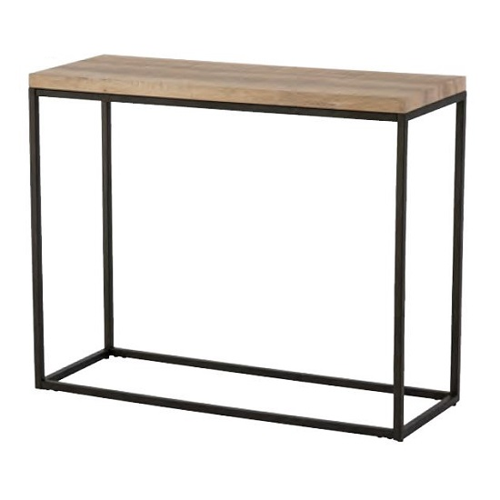 Elinor Wooden Console Table In Oak With Black Metal Frame