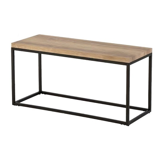 Elinor Wooden TV Stand In Oak Finish With Black Metal Frame