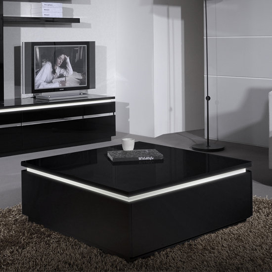 White High Gloss Side End Square 2 Seats Of Coffee Table: Elisa Coffee Table Square In Gloss Black With Storage 19747