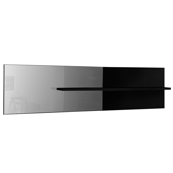 Elisa Wall Mirror With Shelf In Black Lacquer