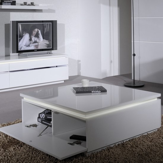 Black Coffee Table With Storage Uk: Elisa Coffee Table Square In High Gloss White With Storage