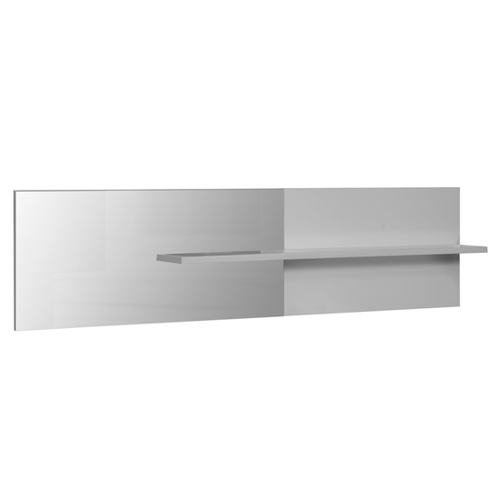 Elisa Wall Mirror with Shelf In White Lacquer