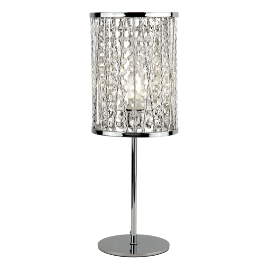 Elise 1 Light Table Lamp In Chrome With Crystal Drops