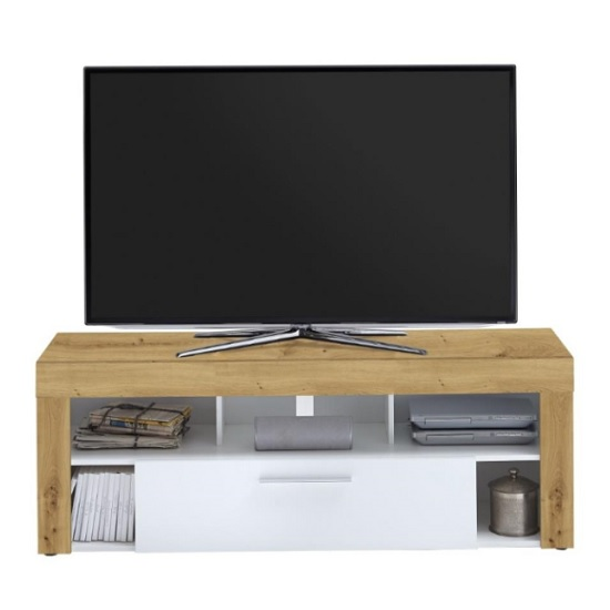 Elista LCD TV Stand In Artisan Oak And White With 1 Drawer